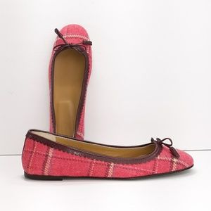 J. Crew New Pink Plaid Ballet Flats
